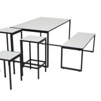 O-bord + bænk med Square taburetter